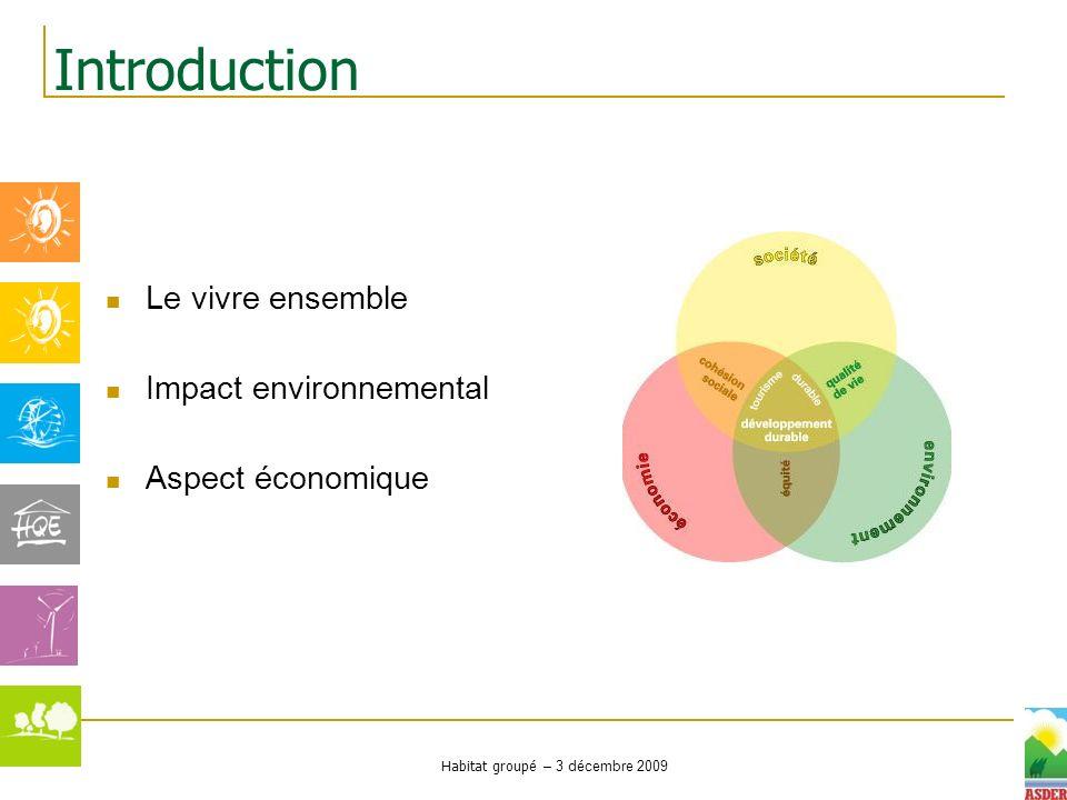 Habitat groupé – 3 décembre 2009 Le vivre ensemble Impact environnemental Aspect économique Introduction