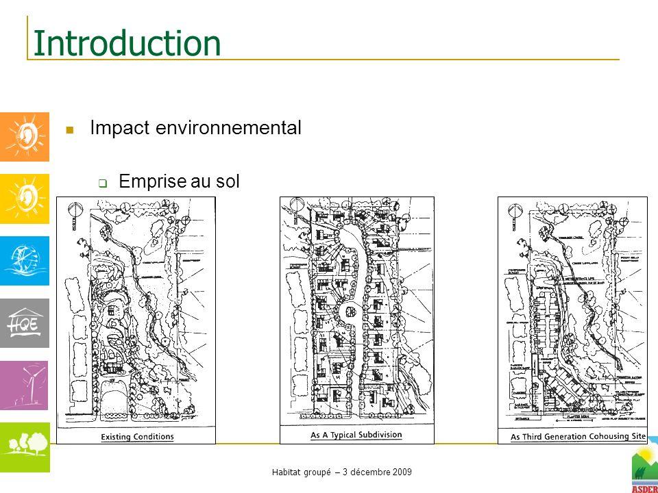 Habitat groupé – 3 décembre 2009 Impact environnemental Emprise au sol Introduction