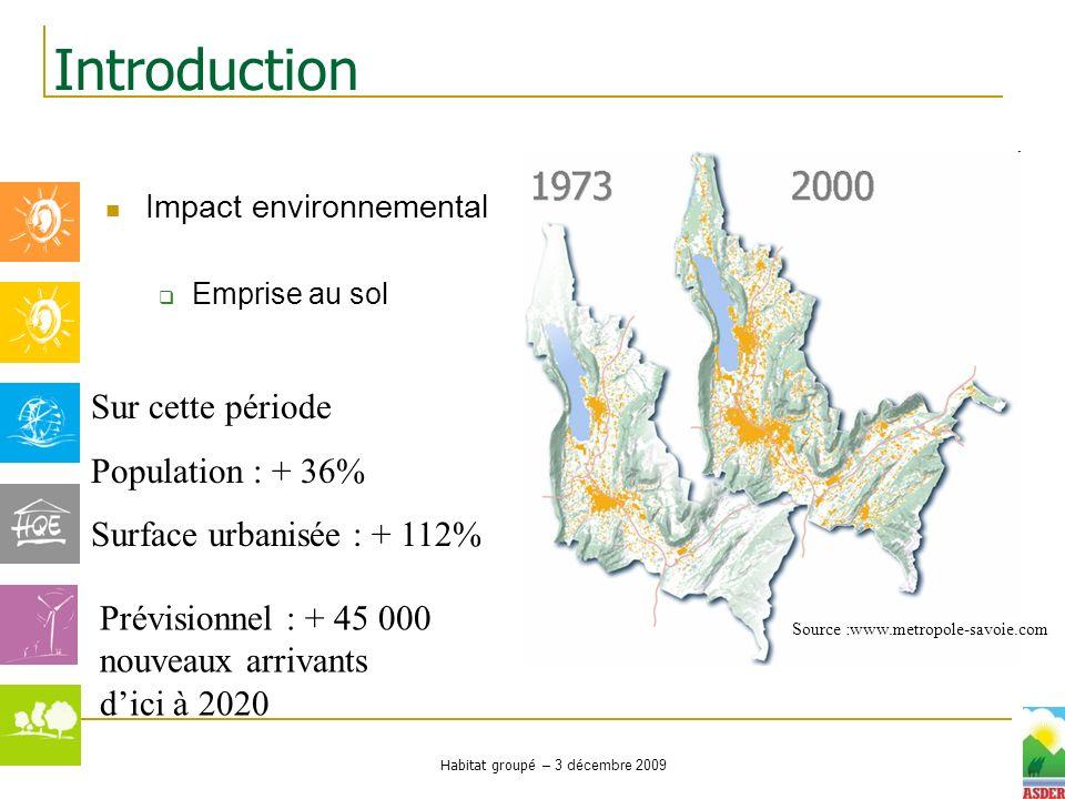 Habitat groupé – 3 décembre 2009 Impact environnemental Emprise au sol Introduction Sur cette période Population : + 36% Surface urbanisée : + 112% So