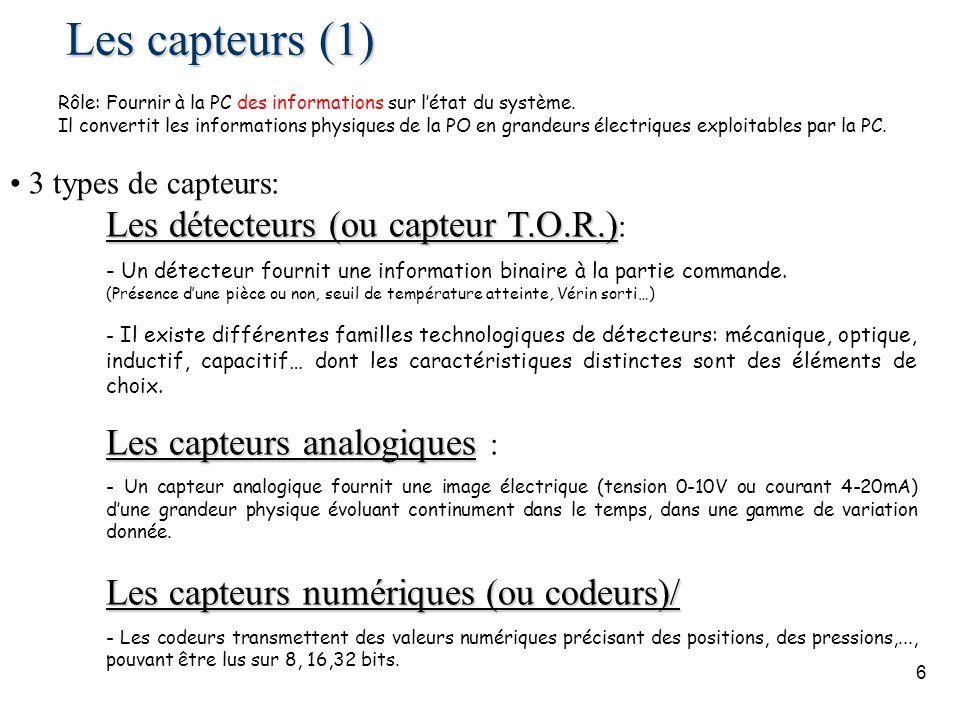 6 Les capteurs (1) 3 types de capteurs: Les détecteurs (ou capteur T.O.R.) Les détecteurs (ou capteur T.O.R.) : - Un détecteur fournit une information binaire à la partie commande.