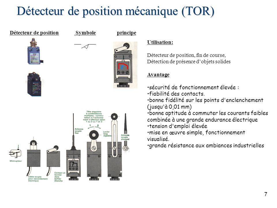7 Détecteur de position mécanique (TOR) Détecteur de position Symboleprincipe Utilisation: Détecteur de position, fin de course, Détection de présence dobjets solides Avantage sécurité de fonctionnement élevée : fiabilité des contacts.