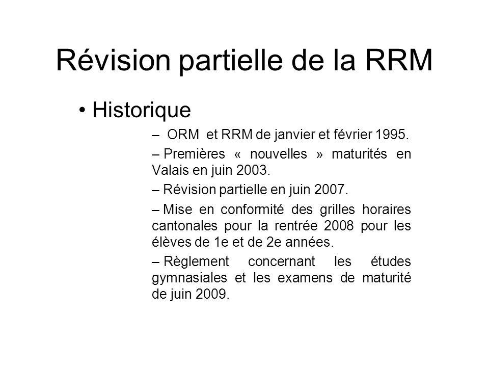 Révision partielle de la RRM Historique – ORM et RRM de janvier et février 1995. – Premières « nouvelles » maturités en Valais en juin 2003. – Révisio