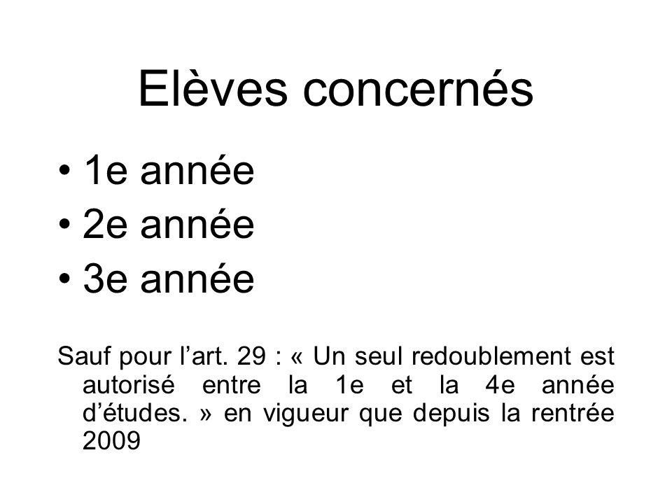 Elèves concernés 1e année 2e année 3e année Sauf pour lart. 29 : « Un seul redoublement est autorisé entre la 1e et la 4e année détudes. » en vigueur