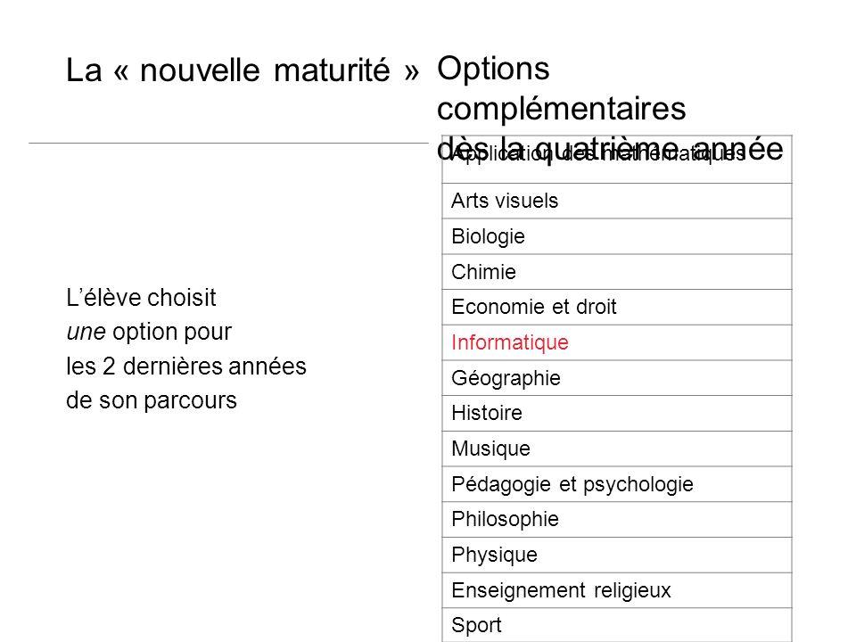 Options complémentaires dès la quatrième année La « nouvelle maturité » Lélève choisit une option pour les 2 dernières années de son parcours Applicat
