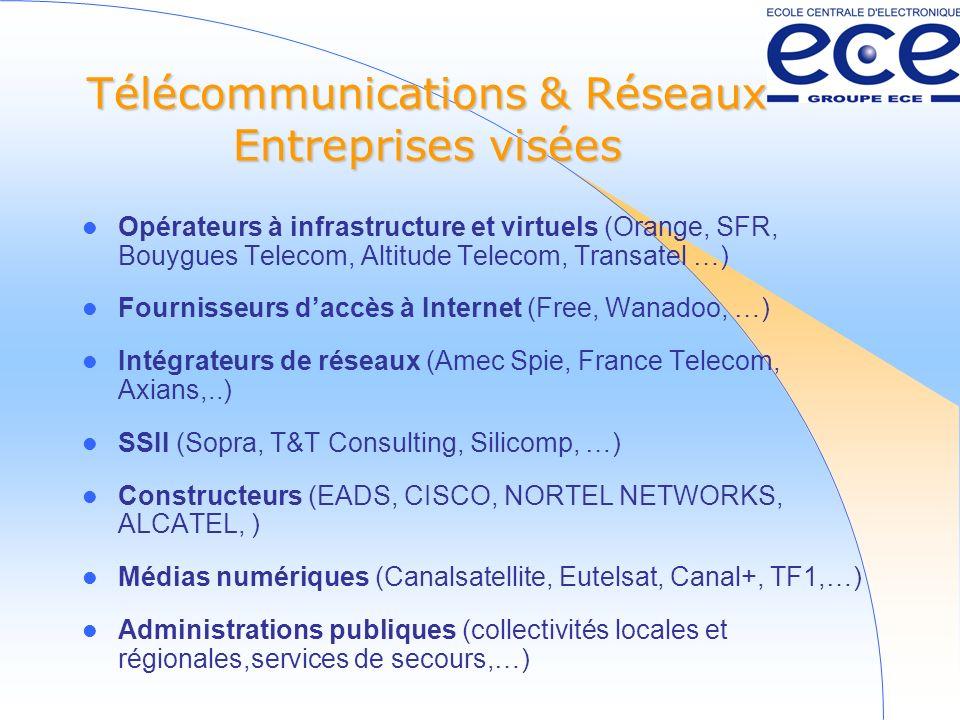 Télécommunications & Réseaux Entreprises visées Opérateurs à infrastructure et virtuels (Orange, SFR, Bouygues Telecom, Altitude Telecom, Transatel …) Fournisseurs daccès à Internet (Free, Wanadoo, …) Intégrateurs de réseaux (Amec Spie, France Telecom, Axians,..) SSII (Sopra, T&T Consulting, Silicomp, …) Constructeurs (EADS, CISCO, NORTEL NETWORKS, ALCATEL, ) Médias numériques (Canalsatellite, Eutelsat, Canal+, TF1,…) Administrations publiques (collectivités locales et régionales,services de secours,…)