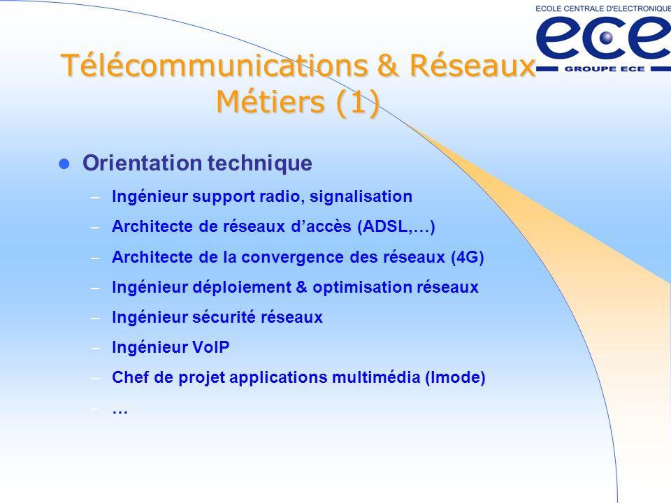 Télécommunications & Réseaux Métiers (2) Orientation clients – Responsable marketing – Commercial ou technico-commercial – Ingénieur produit – Ingénieur daffaires – Ingénieur support –…–…