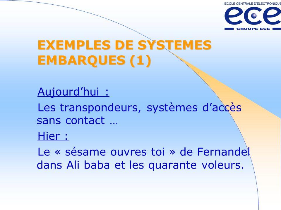 EXEMPLES DE SYSTEMES EMBARQUES (1) Aujourdhui : Les transpondeurs, systèmes daccès sans contact … Hier : Le « sésame ouvres toi » de Fernandel dans Ali baba et les quarante voleurs.