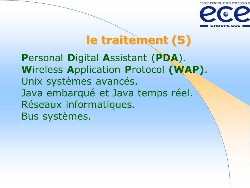 le traitement (5) Personal Digital Assistant (PDA). Wireless Application Protocol (WAP). Unix systèmes avancés. Java embarqué et Java temps réel. Rése