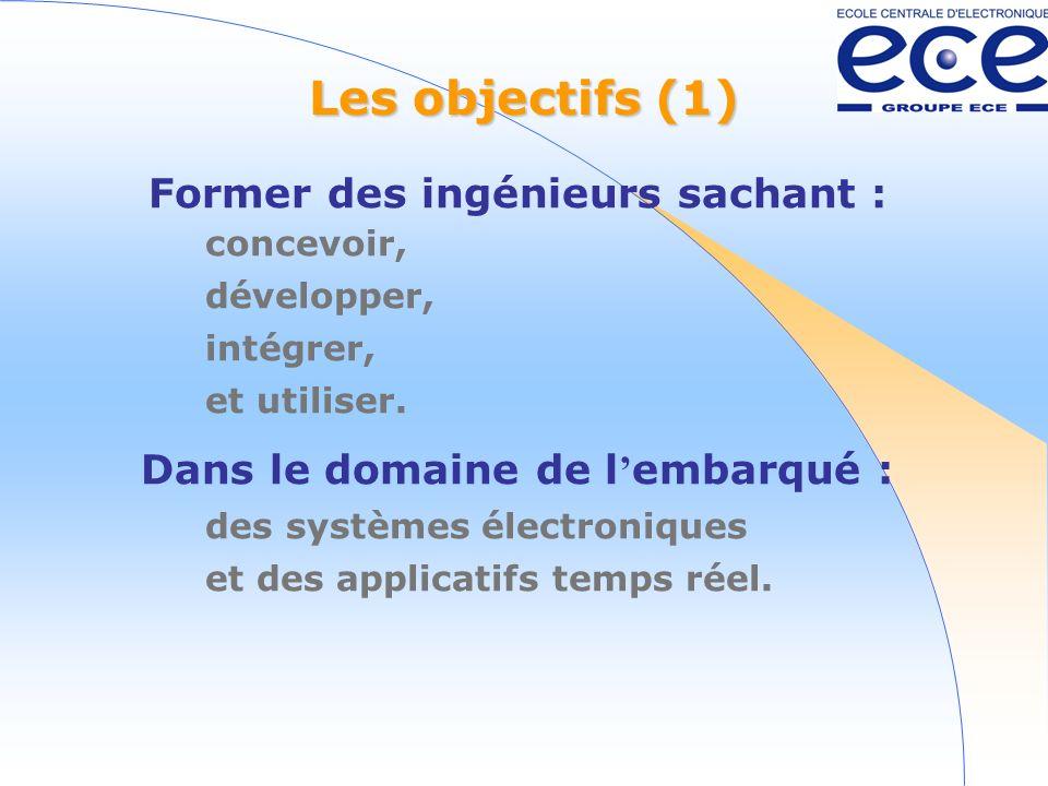 Les objectifs (1) Former des ingénieurs sachant : concevoir, développer, intégrer, et utiliser.