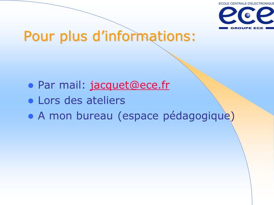 Pour plus dinformations: Par mail: jacquet@ece.frjacquet@ece.fr Lors des ateliers A mon bureau (espace pédagogique)