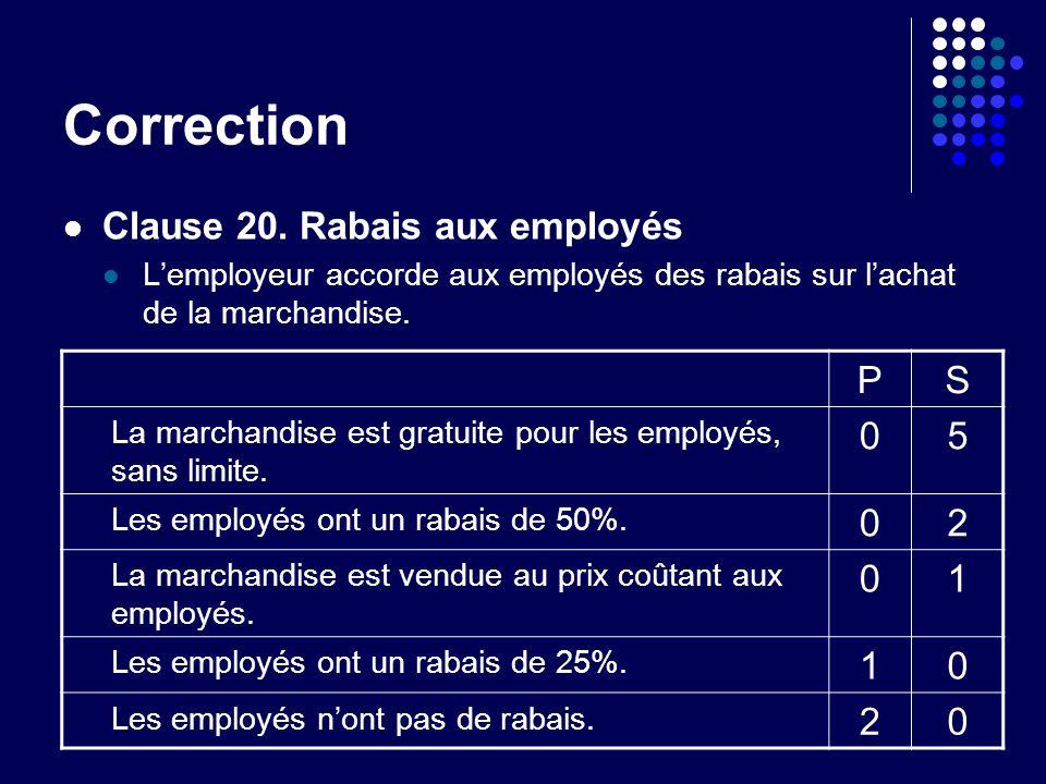 Clause 20. Rabais aux employés Lemployeur accorde aux employés des rabais sur lachat de la marchandise. PS La marchandise est gratuite pour les employ