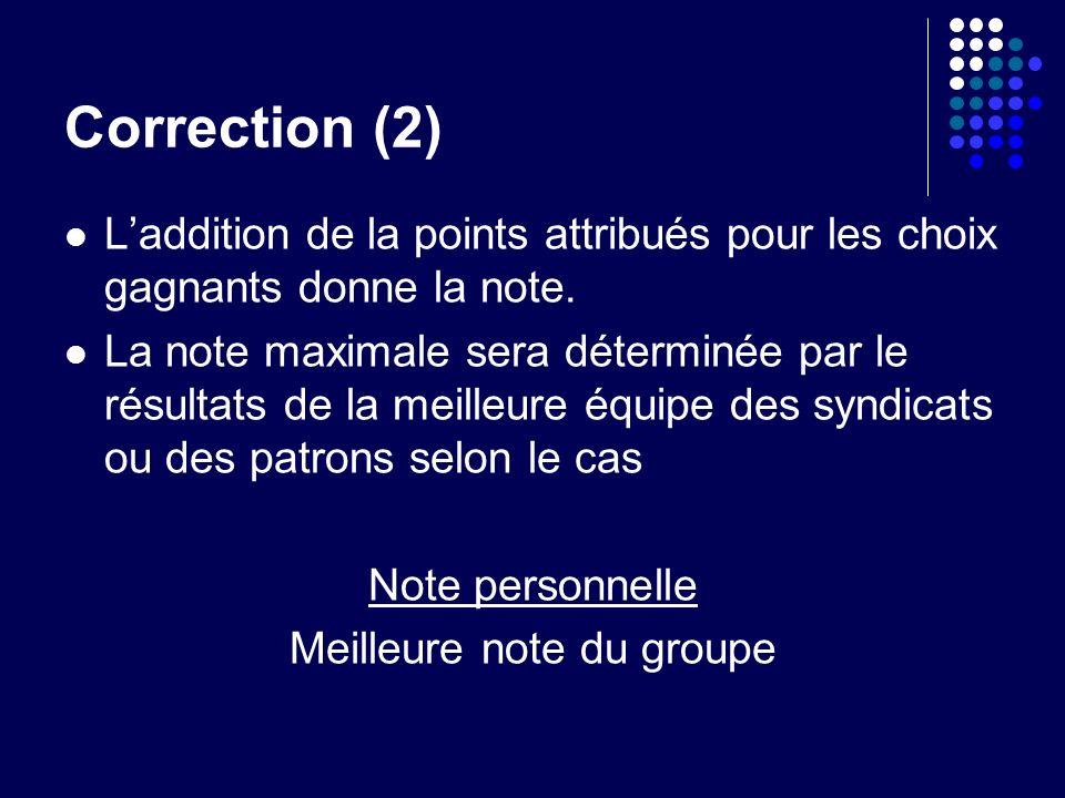 Correction (2) Laddition de la points attribués pour les choix gagnants donne la note.