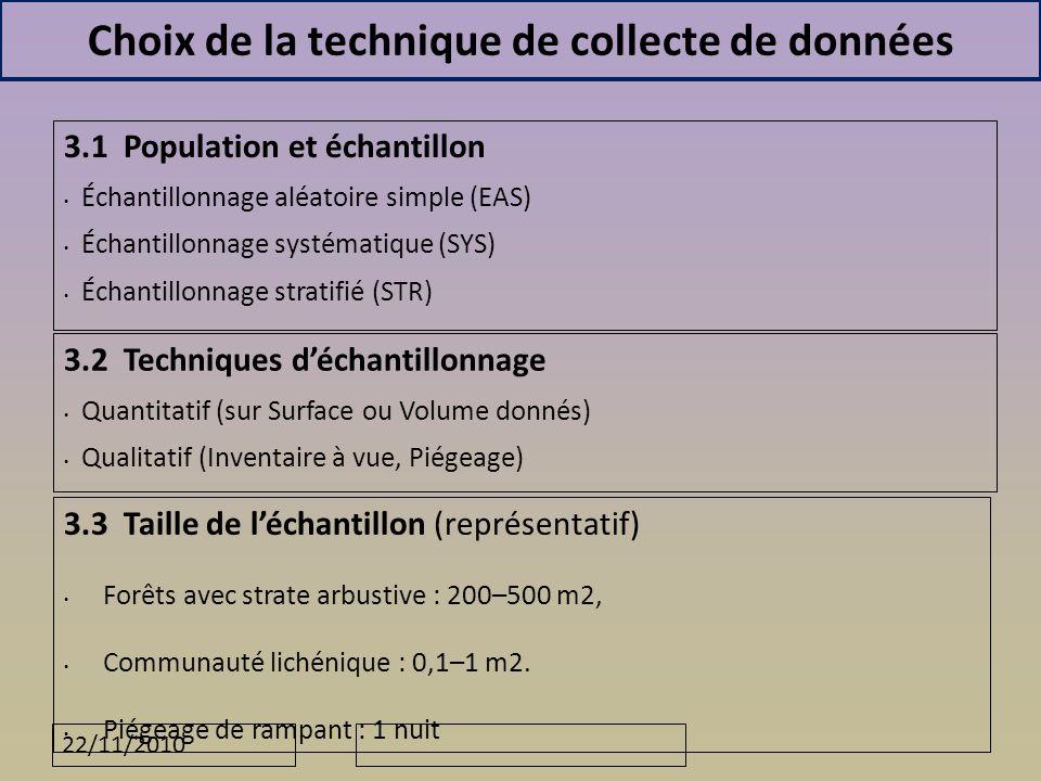 22/11/2010 Choix de la technique de collecte de données 3.3 Taille de léchantillon (représentatif) Forêts avec strate arbustive : 200–500 m2, Communauté lichénique : 0,1–1 m2.