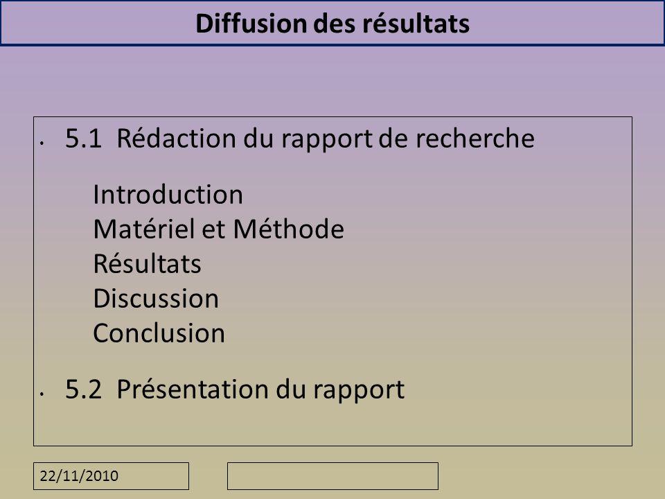 22/11/2010 Diffusion des résultats 5.1 Rédaction du rapport de recherche Introduction Matériel et Méthode Résultats Discussion Conclusion 5.2 Présenta