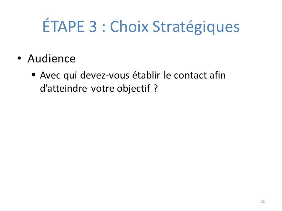 ÉTAPE 3 : Choix Stratégiques Audience Avec qui devez-vous établir le contact afin datteindre votre objectif .