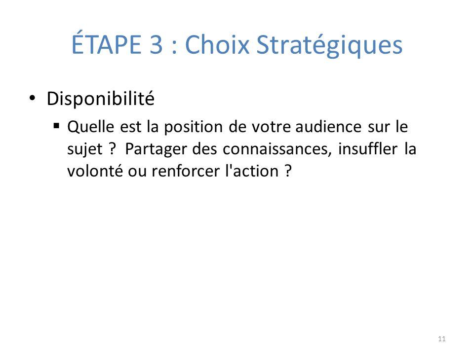 ÉTAPE 3 : Choix Stratégiques Disponibilité Quelle est la position de votre audience sur le sujet .