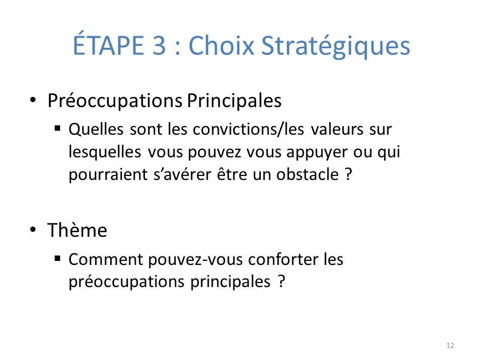 ÉTAPE 3 : Choix Stratégiques Préoccupations Principales Quelles sont les convictions/les valeurs sur lesquelles vous pouvez vous appuyer ou qui pourraient savérer être un obstacle .