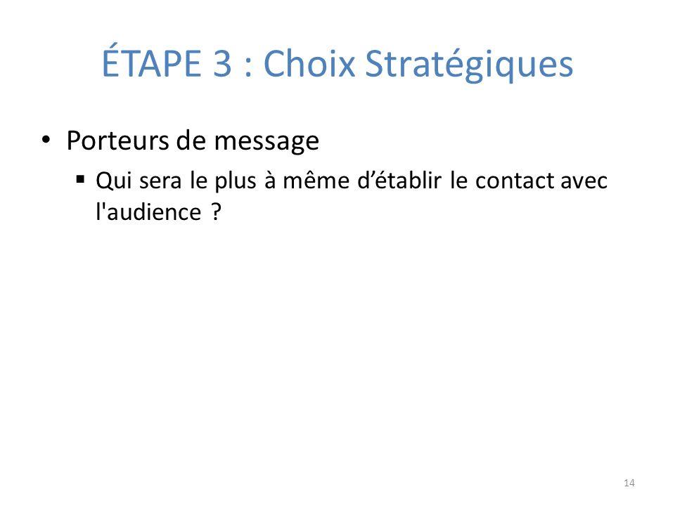 ÉTAPE 3 : Choix Stratégiques Porteurs de message Qui sera le plus à même détablir le contact avec l audience .