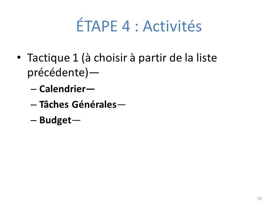 ÉTAPE 4 : Activités Tactique 1 (à choisir à partir de la liste précédente) – Calendrier – Tâches Générales – Budget 16