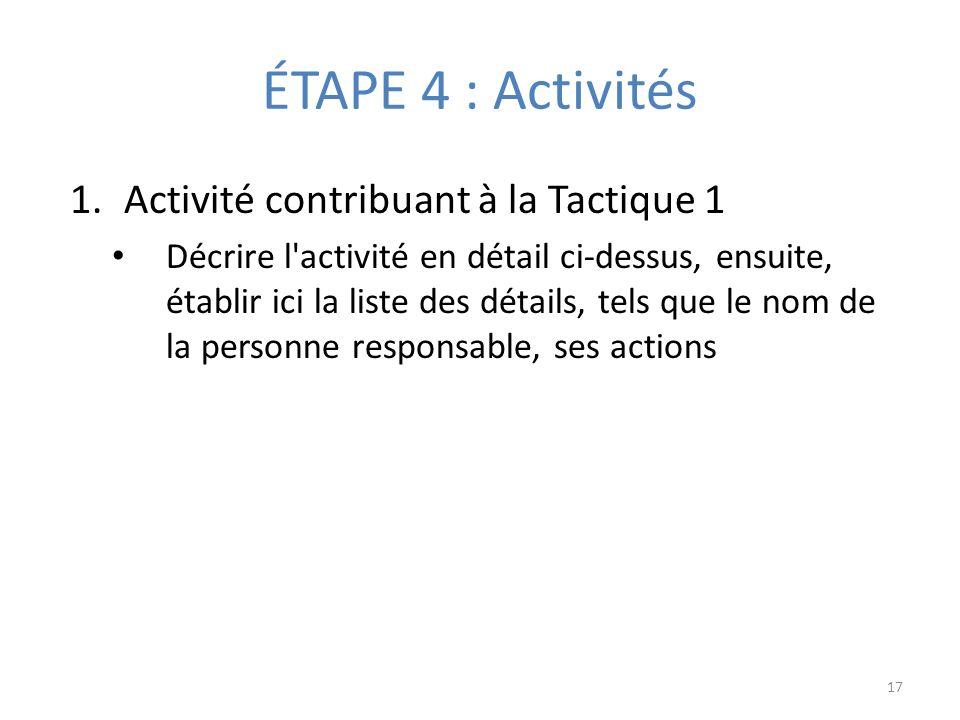 ÉTAPE 4 : Activités 1.Activité contribuant à la Tactique 1 Décrire l activité en détail ci-dessus, ensuite, établir ici la liste des détails, tels que le nom de la personne responsable, ses actions 17