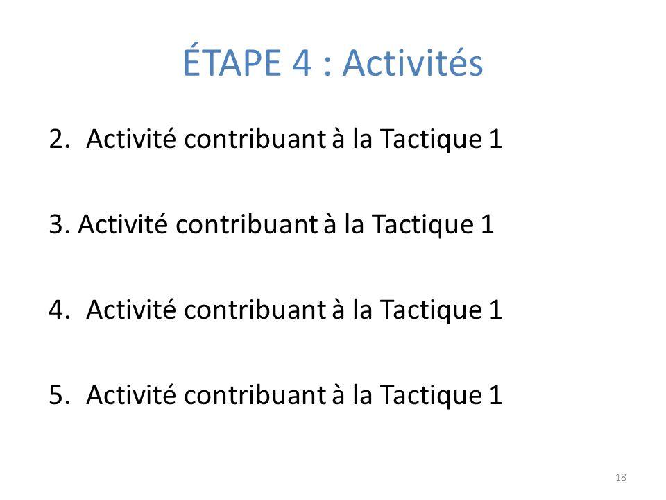 ÉTAPE 4 : Activités 2.Activité contribuant à la Tactique 1 3.