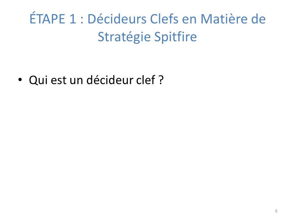 ÉTAPE 1 : Décideurs Clefs en Matière de Stratégie Spitfire Qui est un décideur clef ? 6