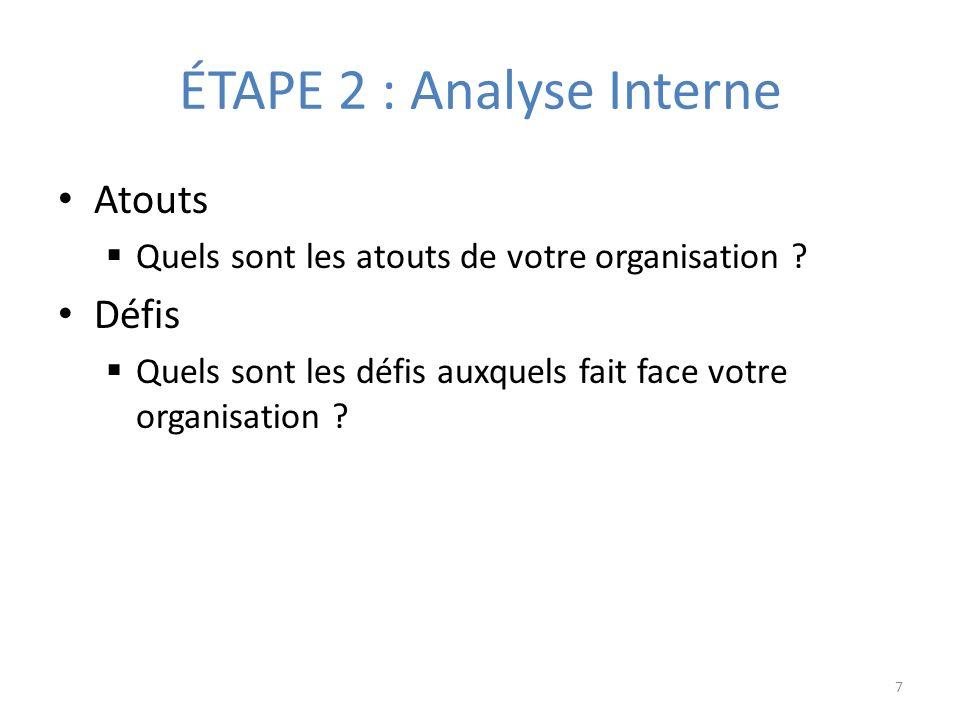 ÉTAPE 2 : Analyse Interne Atouts Quels sont les atouts de votre organisation .