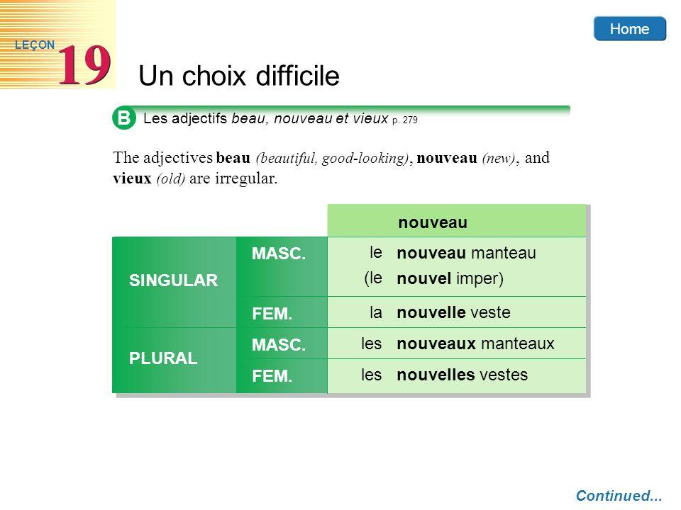 Home Un choix difficile 19 LEÇON B Les adjectifs beau, nouveau et vieux p. 279 The adjectives beau (beautiful, good-looking), nouveau (new), and vieux