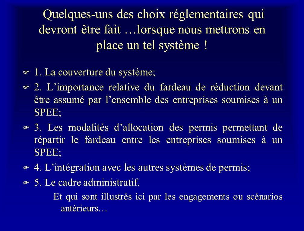 Quelques-uns des choix réglementaires qui devront être fait …lorsque nous mettrons en place un tel système ! F 1. La couverture du système; F 2. Limpo