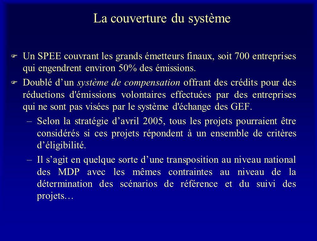 La couverture du système F Un SPEE couvrant les grands émetteurs finaux, soit 700 entreprises qui engendrent environ 50% des émissions. F Doublé dun s