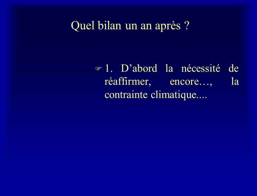 Quel bilan un an après ? F 1. Dabord la nécessité de réaffirmer, encore…, la contrainte climatique....
