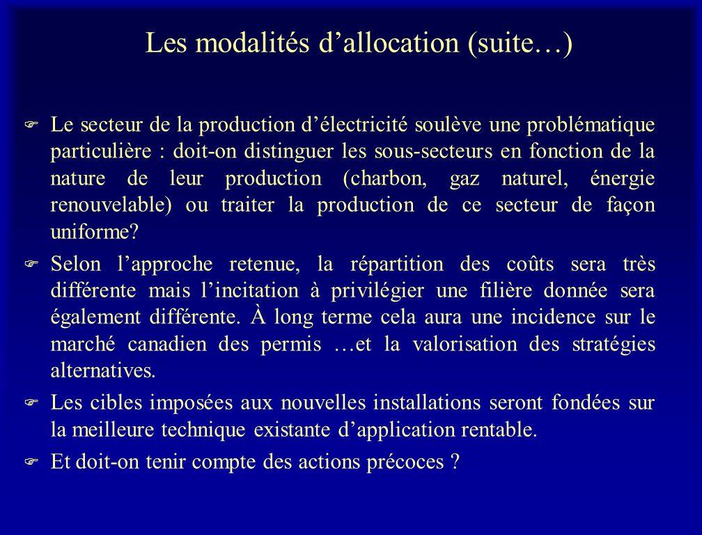 Les modalités dallocation (suite…) F Le secteur de la production délectricité soulève une problématique particulière : doit-on distinguer les sous-secteurs en fonction de la nature de leur production (charbon, gaz naturel, énergie renouvelable) ou traiter la production de ce secteur de façon uniforme.