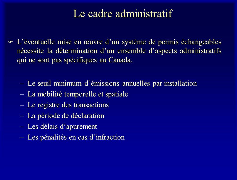 Le cadre administratif F Léventuelle mise en œuvre dun système de permis échangeables nécessite la détermination dun ensemble daspects administratifs qui ne sont pas spécifiques au Canada.