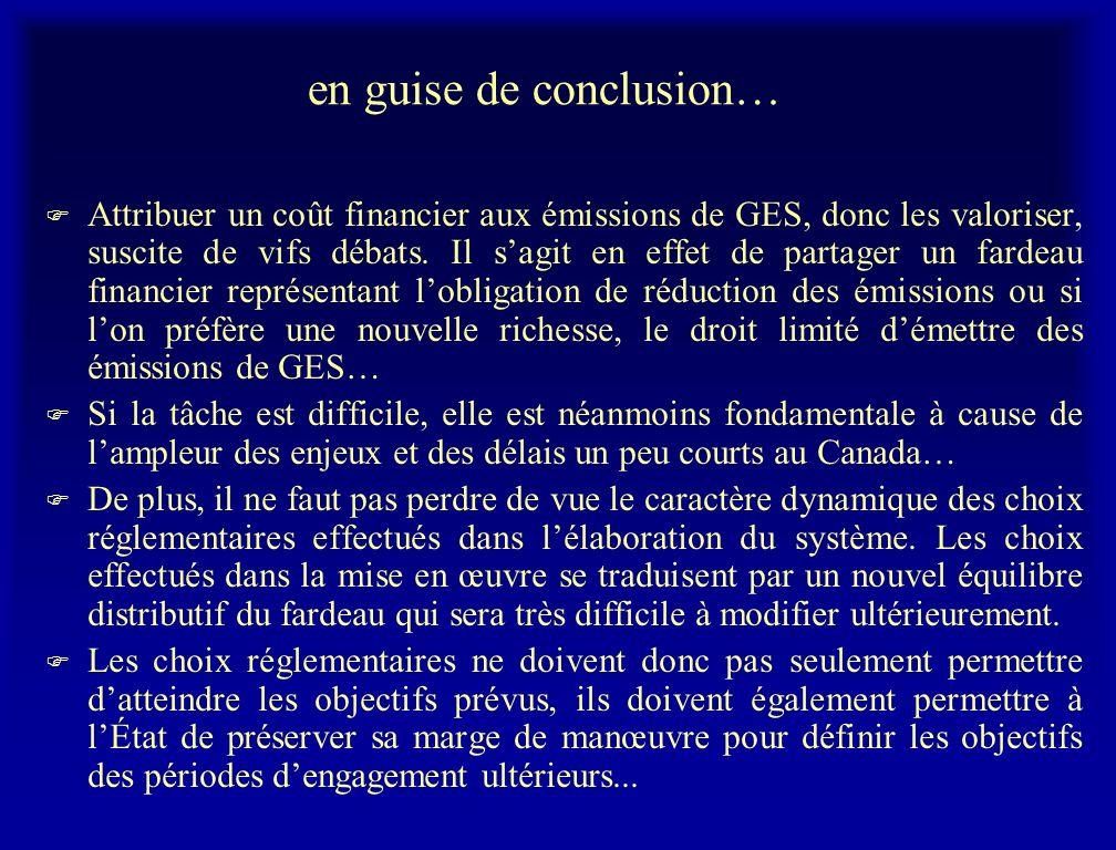 en guise de conclusion… F Attribuer un coût financier aux émissions de GES, donc les valoriser, suscite de vifs débats. Il sagit en effet de partager