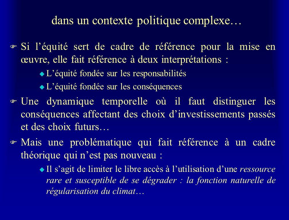 dans un contexte politique complexe… F Si léquité sert de cadre de référence pour la mise en œuvre, elle fait référence à deux interprétations : u Léq