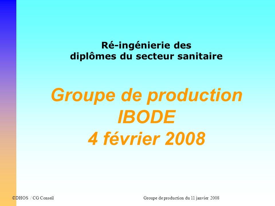 ©DHOS / CG Conseil Groupe de production du 11 janvier 2008 Ré-ingénierie des diplômes du secteur sanitaire Groupe de production IBODE 4 février 2008