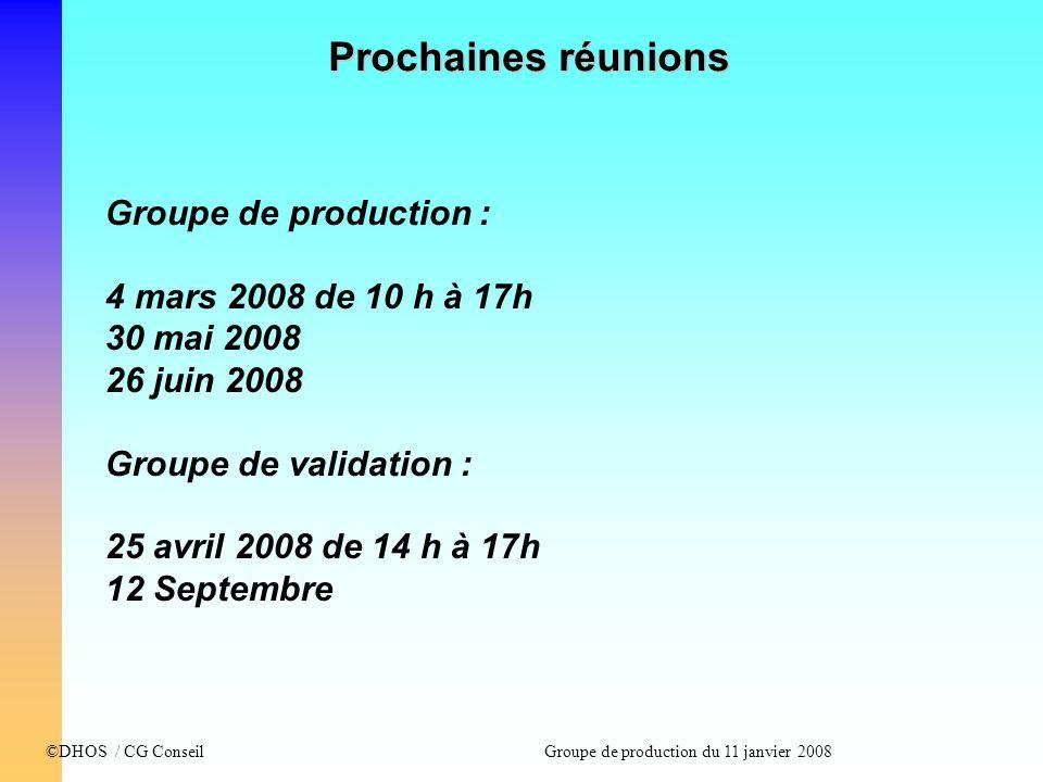 ©DHOS / CG Conseil Groupe de production du 11 janvier 2008 Groupe de production : 4 mars 2008 de 10 h à 17h 30 mai 2008 26 juin 2008 Groupe de validat