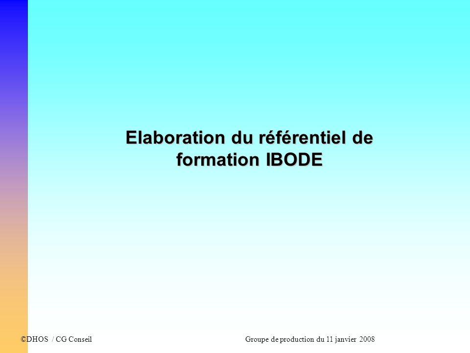 ©DHOS / CG Conseil Groupe de production du 11 janvier 2008 Elaboration du référentiel de formation IBODE