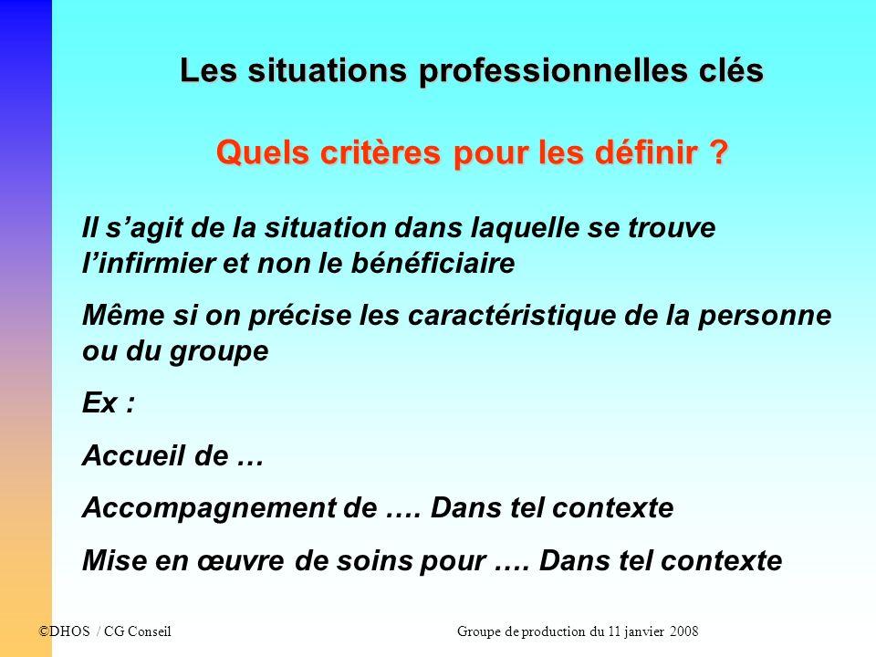 ©DHOS / CG Conseil Groupe de production du 11 janvier 2008 Les situations professionnelles clés Quels critères pour les définir ? Il sagit de la situa