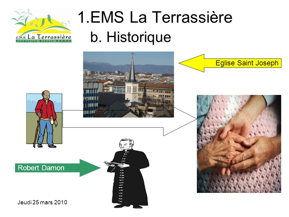 Jeudi 25 mars 2010 1.EMS La Terrassière b. Historique Robert Damon Eglise Saint Joseph