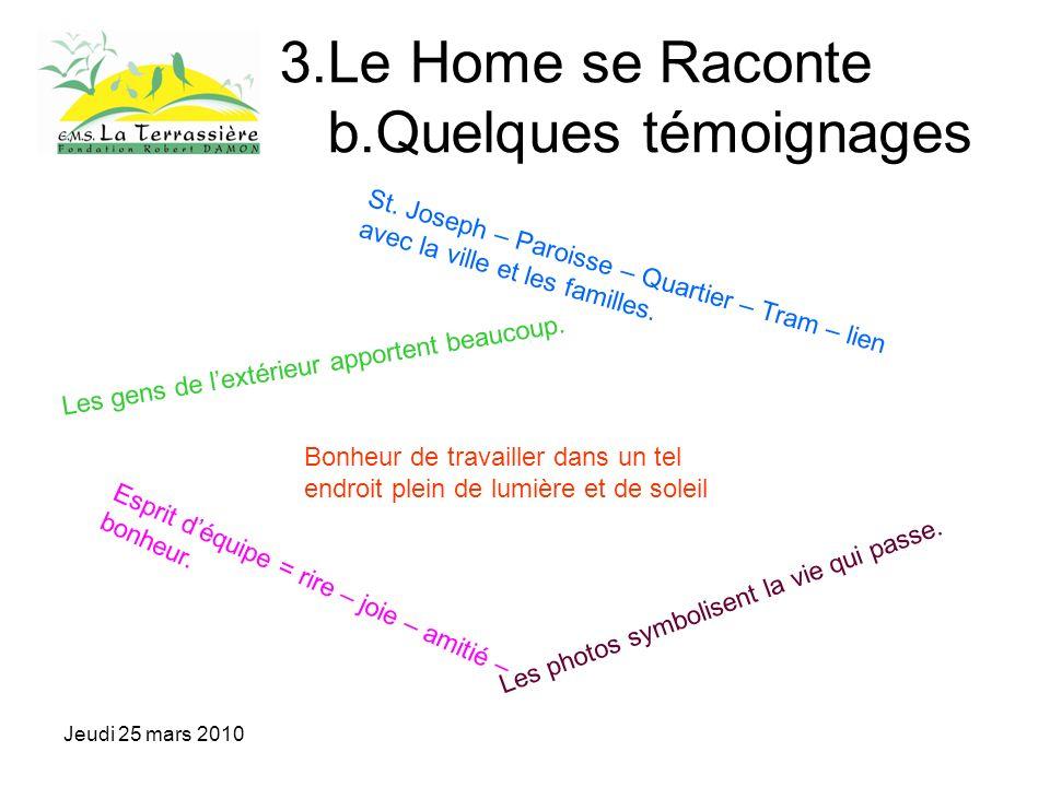 Jeudi 25 mars 2010 3.Le Home se Raconte b.Quelques témoignages Esprit déquipe = rire – joie – amitié – bonheur.