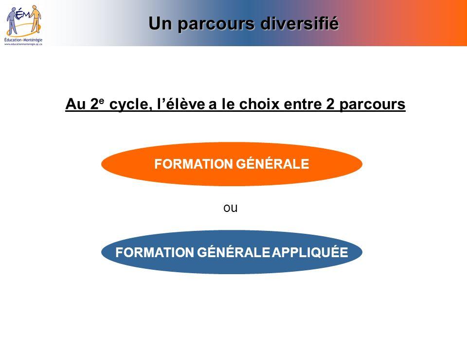 Un parcours diversifié Similitudes MÊMES COURS De français, danglais, de mathématiques, dhistoire, darts et déducation physique.