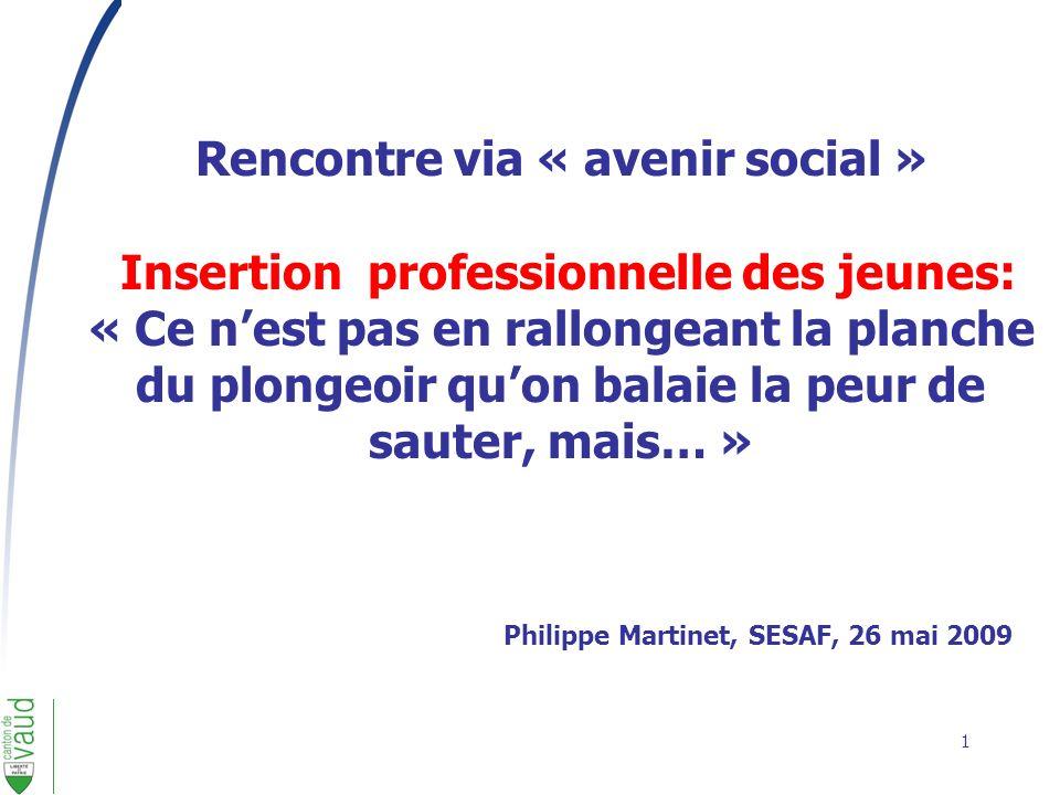 1 Rencontre via « avenir social » Insertion professionnelle des jeunes: « Ce nest pas en rallongeant la planche du plongeoir quon balaie la peur de sa