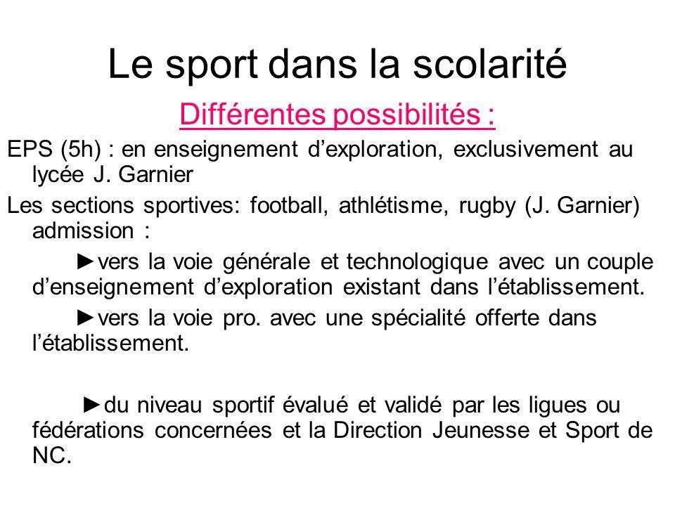 Le sport dans la scolarité Différentes possibilités : EPS (5h) : en enseignement dexploration, exclusivement au lycée J. Garnier Les sections sportive