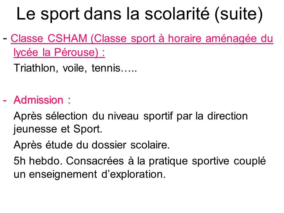 Le sport dans la scolarité (suite) - Classe CSHAM (Classe sport à horaire aménagée du lycée la Pérouse) : Triathlon, voile, tennis….. -Admission : Apr