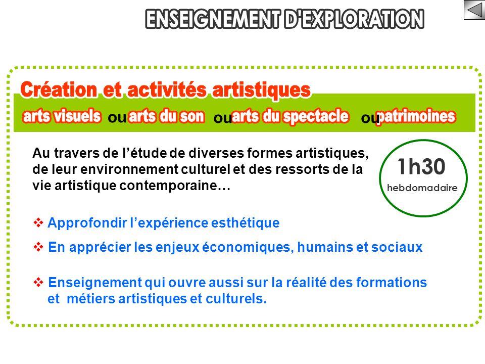 1h30 hebdomadaire Au travers de létude de diverses formes artistiques, de leur environnement culturel et des ressorts de la vie artistique contemporai