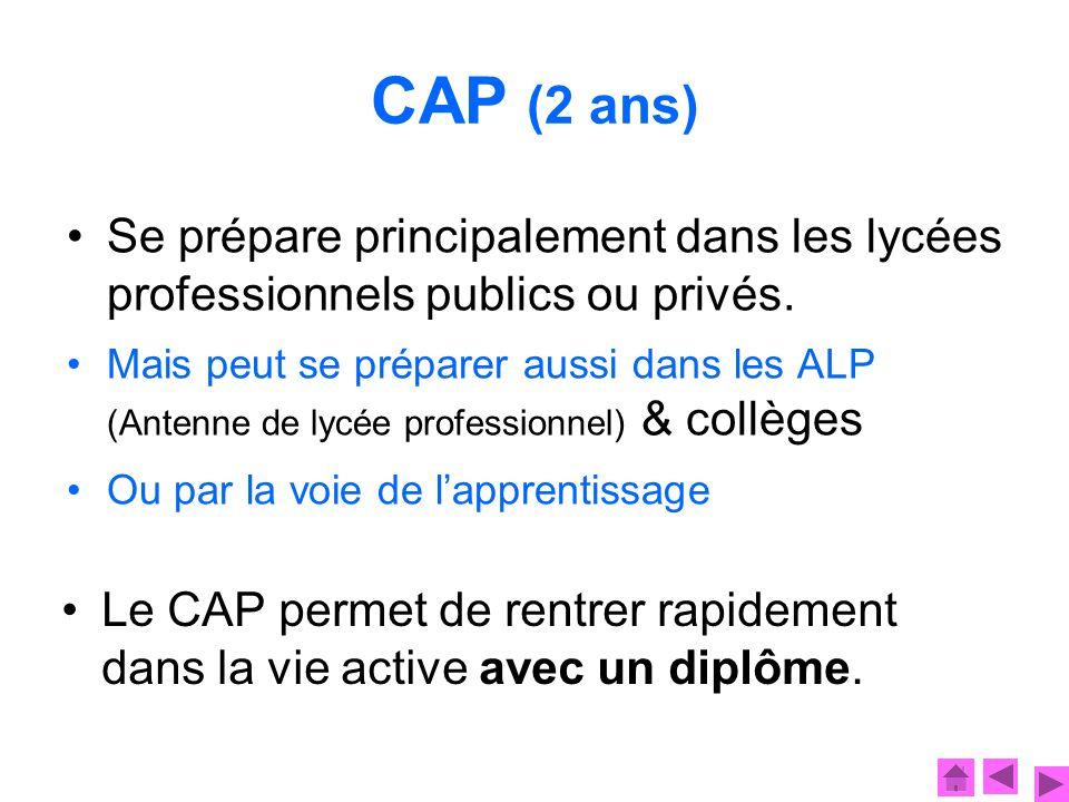 CAP (2 ans) Le CAP permet de rentrer rapidement dans la vie active avec un diplôme. Se prépare principalement dans les lycées professionnels publics o