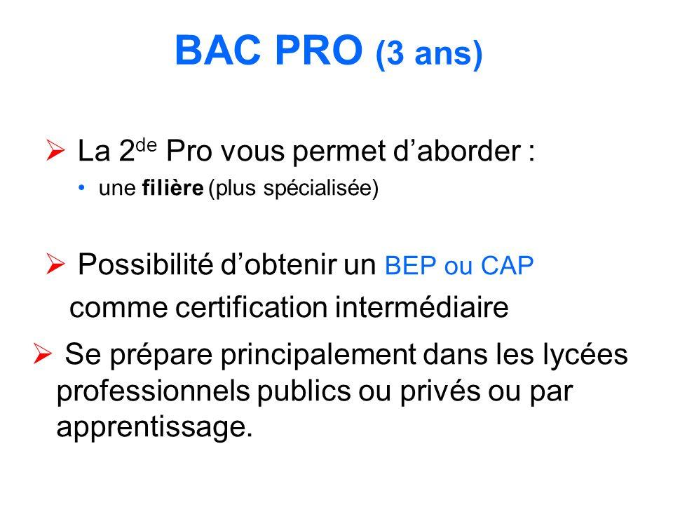 BAC PRO (3 ans) La 2 de Pro vous permet daborder : une filière (plus spécialisée) Possibilité dobtenir un BEP ou CAP comme certification intermédiaire