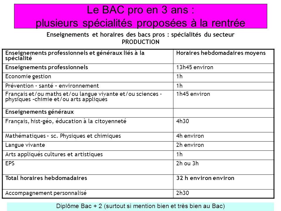 Le BAC pro en 3 ans : plusieurs spécialités proposées à la rentrée Enseignements et horaires des bacs pros : spécialités du secteur PRODUCTION Diplôme