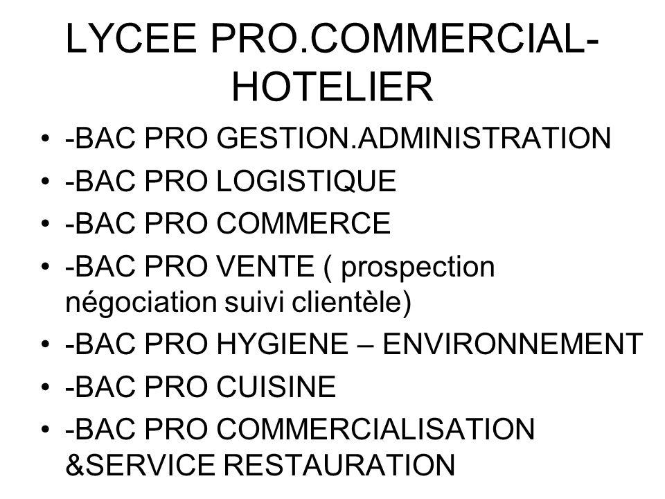 LYCEE PRO.COMMERCIAL- HOTELIER -BAC PRO GESTION.ADMINISTRATION -BAC PRO LOGISTIQUE -BAC PRO COMMERCE -BAC PRO VENTE ( prospection négociation suivi cl